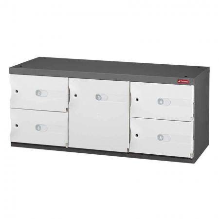 Mixed Door Office Storage Credenza for Shoes or Office Storage - 1 Medium Door and 4 Small Doors in 3 Columns