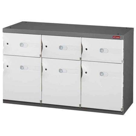 Mixed Door Office Storage Credenza for Shoes or Office Storage - 3 Medium Doors and 3 Small Doors in 3 Columns - The very best way to keep the personal possessions of staff or visitors safe is in this SHUTER space cabinet.