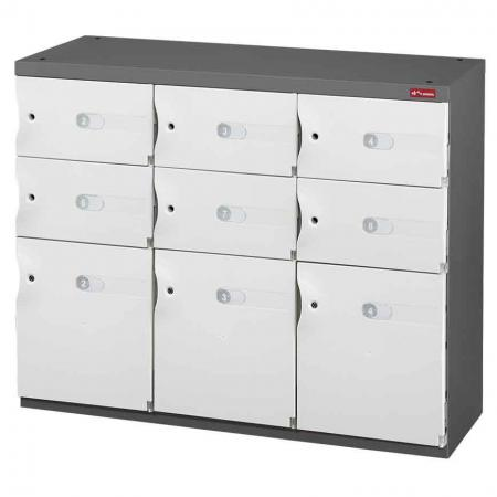 Mixed Door Office Storage Credenza for Shoes or Office Storage - 3 Medium Doors and 6 Small Doors in 3 Columns - Help your staff or customers to securely store their items by installing these office organizers.
