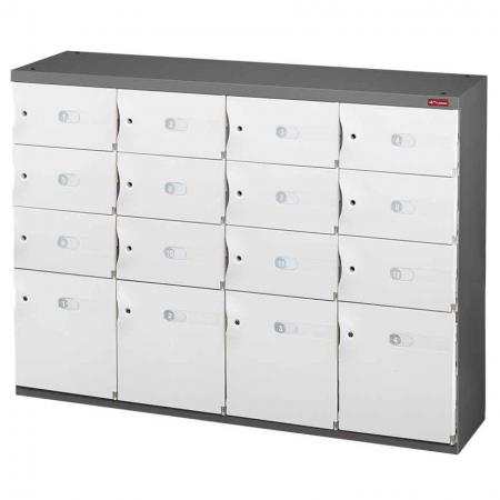 Mixed Door Office Storage Credenza for Shoes or Office Storage - 4 Medium Doors and 12 Small Doors in 4 Columns - Install this in your office or home and you're guaranteed to capture attention of visitors.