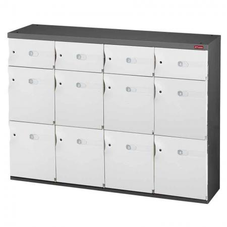 Mixed Door Office Storage Credenza for Shoes or Office Storage - 8 Medium Doors and 4 Small Doors in 4 Columns - The best in lockable office storage solutions: look no further than this credenza for file management.