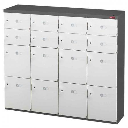 Mixed Door Office Storage Credenza for Shoes or Office Storage - 8 Medium Doors and 8 Small Doors in 4 Columns - SHUTER is dedicated to keeping your stuff safe with this gorgeous office storage unit.