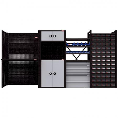 Flat Pack Wall & Locker Tool Organization System - Crafted to fit individual space requirements for garage, workshop, production line, or warehouse.