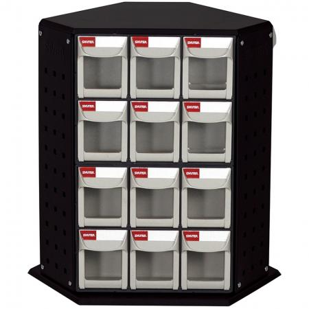 Revolving Tower Quick Flip Out Bins with 6 Sets of 6 Drawers for Industrial Storage Needs - Rotating flip out bin stands are perfect for organizing small parts in industrial spaces.