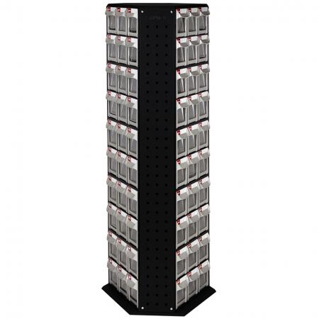 Revolving Tower Quick Flip Out Bins with 15 Sets of 6 Drawers for Industrial Storage Needs - Organize all the small things in your workspace with SHUTER rotating stand flip out bin stands.