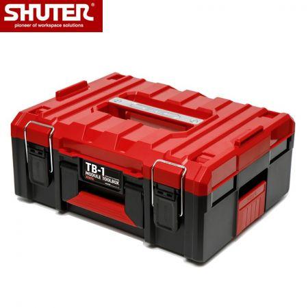 트레이 1개와 금속 잠금 장치가 있는 15L 쌓을 수 있는 도구 상자