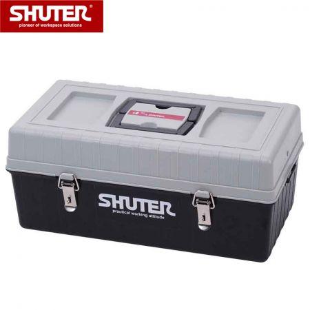 2 개의 쟁반과 금속 자물쇠가있는 12L 전문 도구 상자 - 2 개의 트레이와 금속 잠금 장치가있는 12L 휴대용 도구 상자