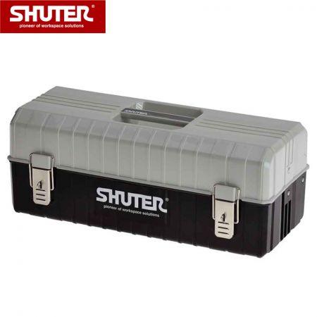 2개의 트레이와 금속 잠금 장치가 있는 10L 전문 도구 상자