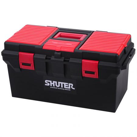 22L Professional Tool Box with 1 Tray and Plastic Locks - A market-leading tool box with strong handle, extra storage accessories, and durable safety clips.
