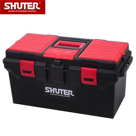 "22L Professional Tool Box with 1 Trayand Plastic Locks - 22"" Portable Tool Box with 1 Trayand Sturdy Plastic Locks"