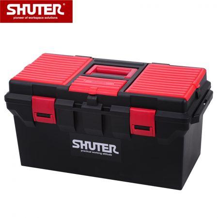 1 개의 트레이 및 플라스틱 잠금 장치가있는 22L 전문 도구 상자 - 1 개의 트레이와 견고한 플라스틱 잠금 장치가있는 22L 휴대용 도구 상자