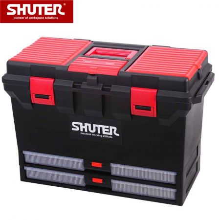 1개의 트레이, 2개의 서랍 및 플라스틱 잠금 장치가 있는 27L 전문가용 도구 상자 - SHUTER 1개의 트레이, 2개의 서랍 및 견고한 플라스틱 잠금 장치가 있는 깊은 도구 상자