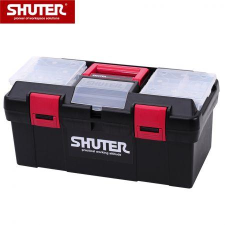 1 개의 트레이, 2 개의 소형 부품 구성 및 플라스틱 잠금 장치가있는 11L 전문 도구 상자