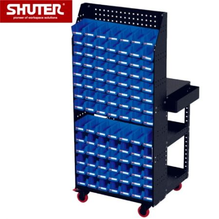 "Large Tool Chest - 1684mm Height, 3 Shelves, Double Backboard, 4"" TPR Casters - A special SHUTER double-sided cart with bins and backboard for ultra usability."
