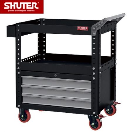 "Tool Chest for Use in Workspaces - 880mm Height with 2 Shelves, 3 Drawers and 4"" TPR Casters - Unique reinforced tool cart with 3 drawers and side handle."