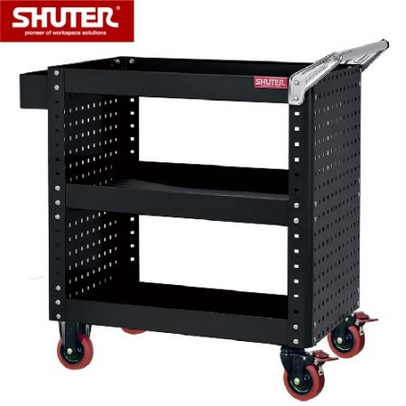 "Tool Chest for Use in Workspaces - 880mm Height with 3 Shelves, Pegboard Siding and 4"" TPR Casters - A sturdy steel utility trolley that allows you to move tools and parts anywhere within an industrial space."