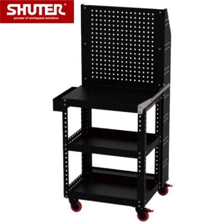 "Large Tool Chest - 1684mm Height with 3 Shelves, Double-Sided Backboard and 4"" TPR Casters - Advanced ultra-heavy duty storage trolley for professional use."