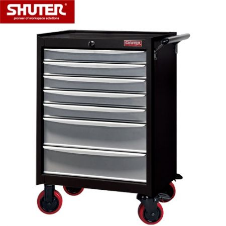 "Professional Two-Tone Tool Chest for Workspaces - 1015mm Height with 7 Drawers and 5"" PP Casters - A steel mobile workshop tool cart unit made for use in garage or factory."