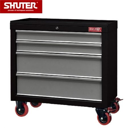 "Professional Two-Tone Tool Chest for Workspaces - 650mm Height with 4 Drawers and 3"" PP Casters - Steel industrial tool cabinet with different drawer depths suitable for large and small objects."