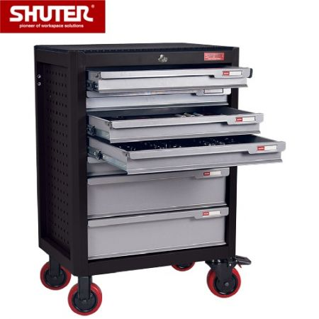 """Professional Two-Tone Tool Chest for Workspaces - 988mm Height with 7 Drawers and 5"""" TPR Casters - Mobile drawer storage designed with extra strength for heavy loading."""