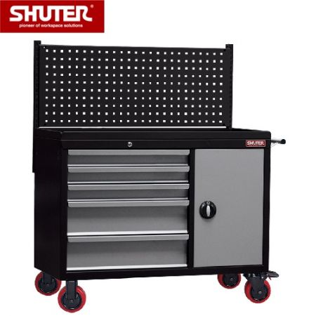"""Large Professional Two-ToneTool Chest - 1291mm High, 5 Drawers, Cabinet, Pegboard, 5"""" TPR Casters - A tool box cabinet that can roll around a workspace with ease."""