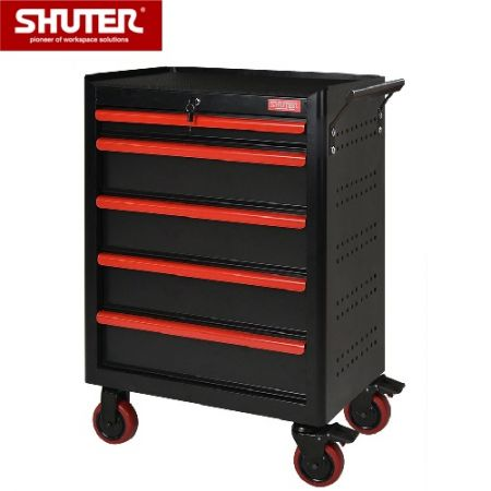 """Professional Two-Tone Tool Chests for Workspaces - 988mm High, 7 Drawers, Pegboard, 5"""" TPR Casters - Innovative heavy load mobile steel storage chest for factory or garage use."""