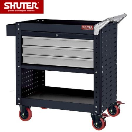 "Tool Chest for Use in Workspaces - 880mm Height with 3 Drawers, Pegboard Siding and 4"" TPR Casters - Mobile tool workstation with three drawers and side panels for hanging tools."