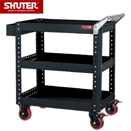 "Tool Chest for Use in Workspaces with 3 Shelves and 4"" TPR Casters - High quality professional ultra-heavy duty cart for use in industrial workspaces."