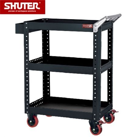 "Large Tool Chest for Use in Workspaces - 1070mm Height with 3 Shelves and 4"" TPR Casters - Flexible trolley bench-style cart with shelves that can be flipped for flat or guarded storage options."