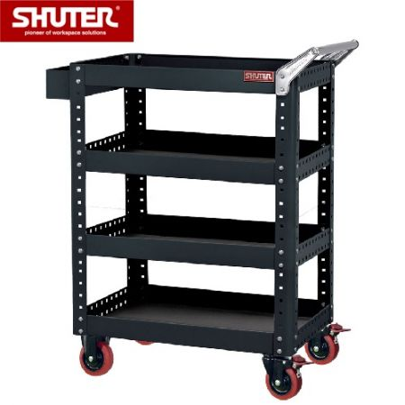 "Large Tool Chest for Use in Workspaces - 1070mm Height with 4 Shelves and 4"" TPR Casters - Innovative shelf trolley with unique double-sided tray."