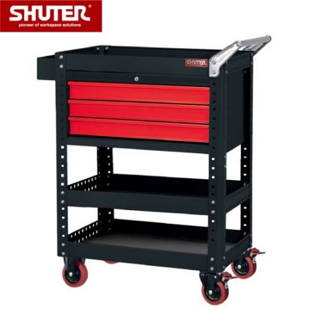 "Large Tool Chest - Standard Size 1070mm Height with 3 Drawers, 2 Shelves, 4"" TPR Casters - A professional heavy rolling cabinet made especially for in-factory use."