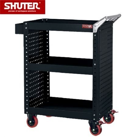 "Large Tool Chest for Use in Workspaces - 1070mm Height with 3 Shelves and 4"" TPR Casters - This ultra-heavy duty cart can be used for tools or parts transportation around a factory."