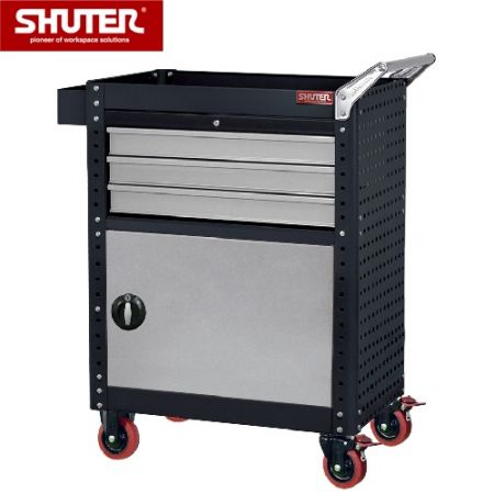 "Tool Chest for Use in Workspaces with 3 Drawers, 1 Lockable Door and 4"" TPR Casters - Revolutionary multipurpose tool cart with four casters and a lockable cabinet."