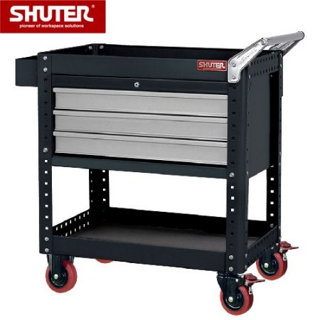 "Tool Chest for Use in Workspaces - 880mm Height with 3 Drawers, 1 Shelf and 4"" TPR Casters - Trolley with three top drawers and tool storage trays."