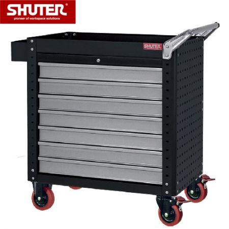 "Tool Chest for Use in Workspaces - 880mm Height with 7 Drawers, Pegboard Siding and 4"" TPR Casters - Steel-constructed drawer cabinet with pegboard siding."
