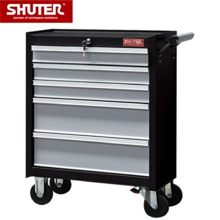 "Professional Two-Tone Tool Chest for Workspaces - 780mm Height with 5 Drawers and 4"" Rubber Casters - Drawer roller cabinet tool chest with heavy loading capacity."