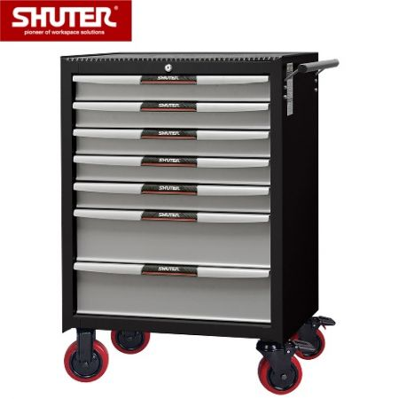 "Professional Two-Tone Tool Chests for Use in Workspaces - 975mm Height with 7 Drawers and 5"" PP Casters - High strength tool cabinet with high durability for heavy loading."
