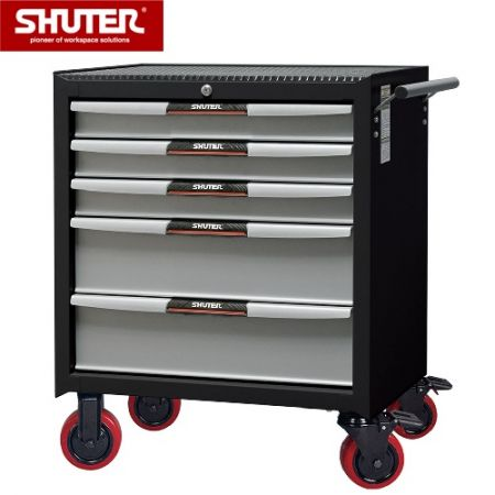 "Professional Two-Tone Tool Chest for Workspaces - 820mm Height with 5 Drawers and 5"" PP Casters - Five-drawer rolling tool cabinet with 5"" casters."