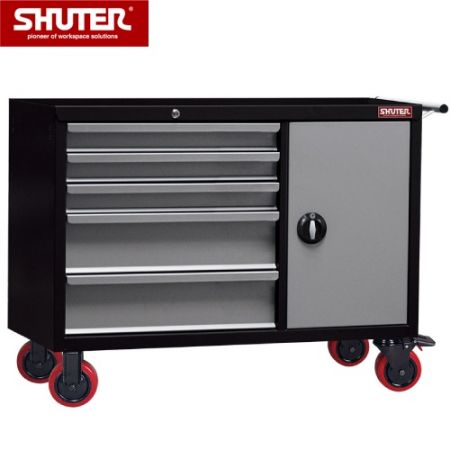 "Large Professional Two-Tone Tool Chest - 880mm High, 5 Drawers, Cabinet, 5"" TPR Casters"