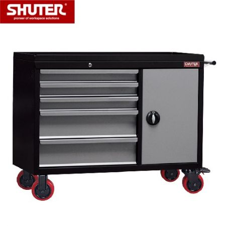 "Large Professional Two-Tone Tool Chest - 1117mm High, 5 Drawers, Cabinet, 5"" TPR Casters - Tool trolley box cart for storage of industrial tools and parts."