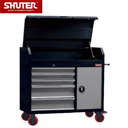 "Large Professional Two-Tone Tool Chest - 1028mm High, 5 Drawers, Cabinet, Lid, 5"" TPR Casters - Industrial drawer storage to secure all of your expensive tools."