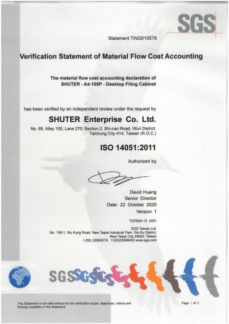 SHUTER ISO 14051:2011 인증서