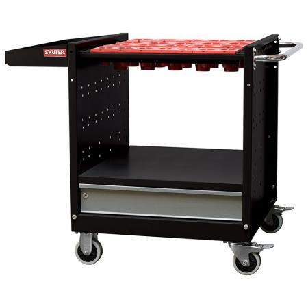 CNC Tool Storage Trolley with 4 Tool Holders and 1 Drawer - Transportable CNC tool and bit storage for industrial workspaces.