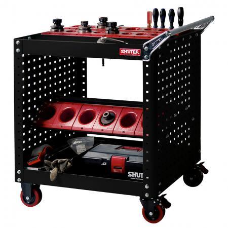 3개의 상단 장착 도구 홀더와 2개의 선반 아래 벤치 홀더가 있는 CNC 도구 보관 트롤리