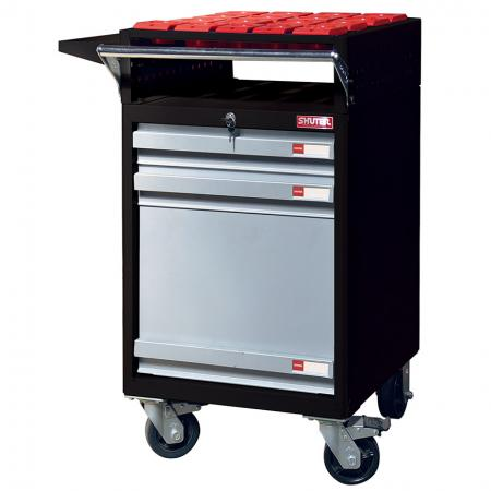 CNC Tool Storage Trolley with 4 Top-Mounted Tool Holders and 3 In-Drawer Tool Holders