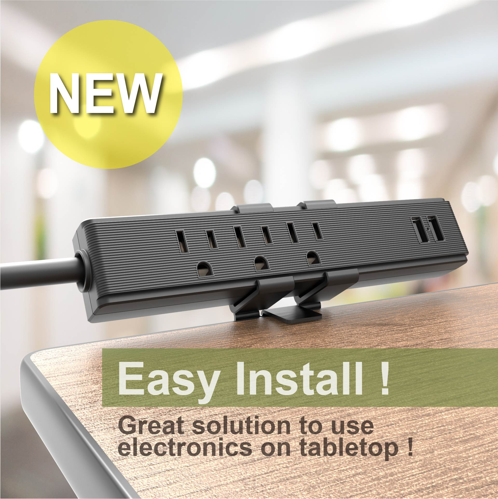 3 Outlets Desk Clamp Power Strip with 2.4A USB Charging - Desktop power strip