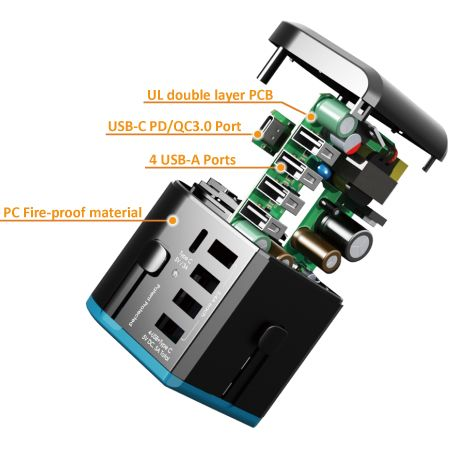 All-in-one Travel Adapter integrates USB-C PD & QC 3.0, supporting power up to 30W fast charging. Equipped with high power up to 10A rated and multiple 5 USB ports are perfect power solution, it allows consumers to use 6 devices or appliances simultaneously, perfectly for traveling or working in groups. Use branded PC fire retardant material and nickel brass to make product in a good conduction and long lifetime.