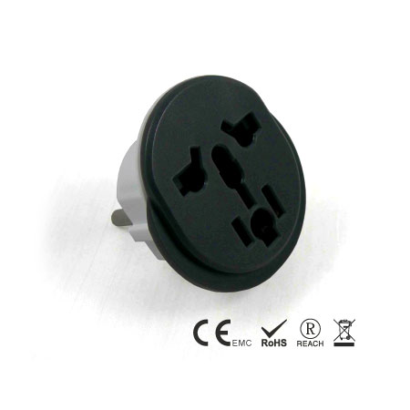 World to EU Grounded plug with 3 poles - Grounded Multi-Nation Travel Adapter