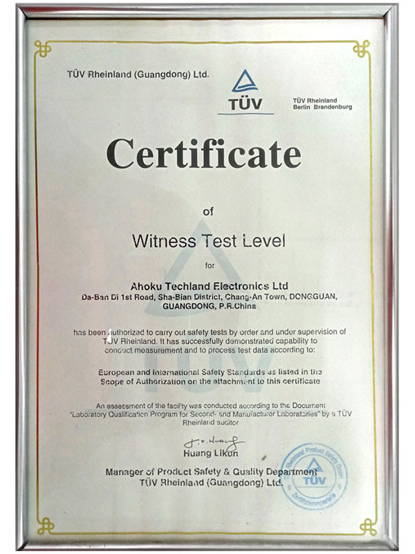 TUV 라인란드 증인 테스트 인증서