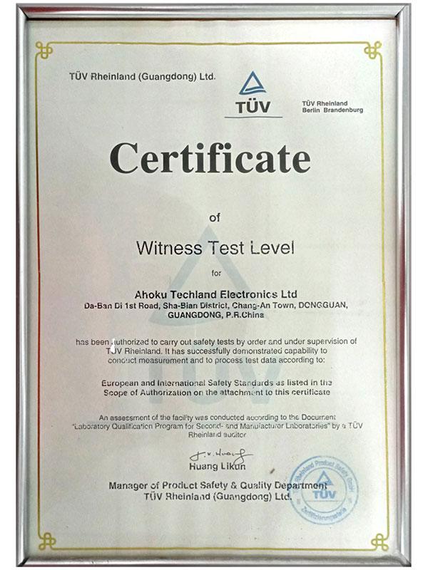 TUV Rheinland Witness Testing Certificate